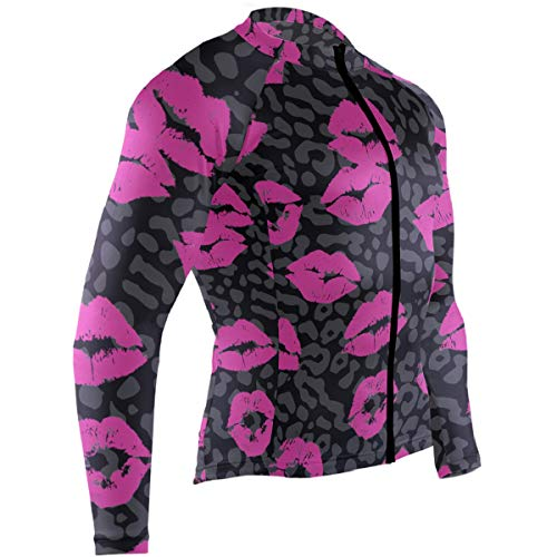 SLHFPX Funny Print Lip Leopard Pattern Mens Cycling Jersey Coat Long Sleeve Mountain Bike Clothing Outfit
