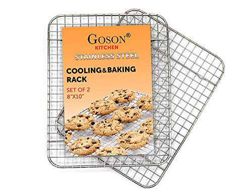 Goson Kitchen Stainless Steel Heavy Duty Metal Wire Cooling, Cooking, Baking Rack For Baking Sheet, Oven Safe up to 575F, Dishwasher Safe Rust Free | 8'x10'; SET OF 2