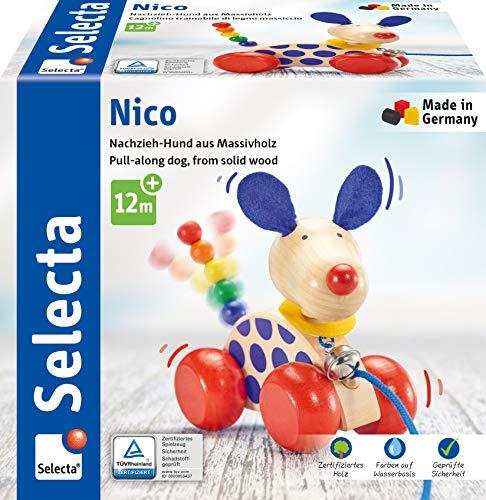 Selecta 62026 Nico Nachzieh Hund, Schiebe-und Nachziehspielzeug aus Holz, 12 cm