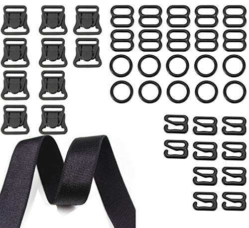 41 pieces Nylon Plastic Nursing and Maternity Clips Clasps Fasteners Plastic Hooks Front Closure Buckles 10 sets Stretchable Shoulder Bra Straps Adjustable Elastic bungee straps Cotton Straps width 0.4 inch Lingerie Adjustment Strap Slides and Rings 10mm Bra Strap Slide Hook Clasp for Swimsuit Tops and Slip Dress 30 pieces Black DIY Carft