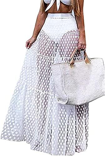 Women's Sexy Split Mesh Skirt See ThroughBeach Party Maxi SkirtsHigh Waist Chiffon Tulle Dress Swimwear Bikini Cover Up (White, Small)