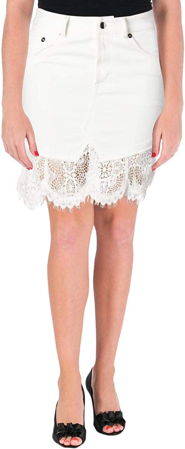 Alexander McQueen Womens Denim Lace Trim Mini Skirt