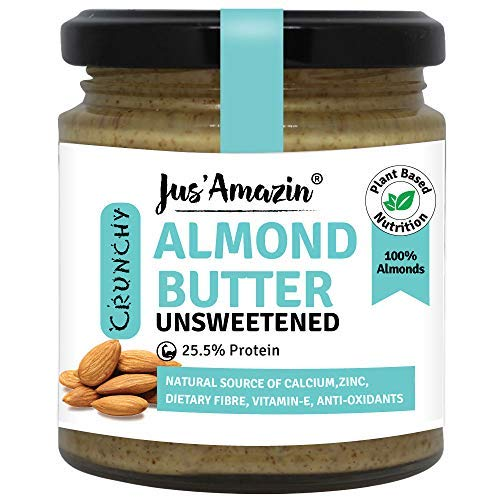 Crunchy Almond Butter - Unsweetened (200g), 25.5% Protein, Plant-Based Nutrition, 100% Almonds, Zero Additives, Vegan, Dairy Free, 100% Natural