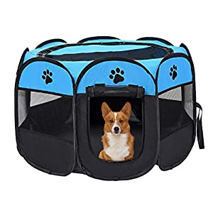 Mile High Life | Portable Cat Dog Crate | Foldable Dog Case Tent | Collapsible Travel Crate | Water Resistant Shade Cover | for Dogs/Cats/Rabbit (Blue+Black, Large-Dia45 H23)