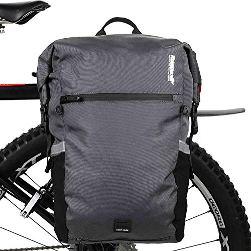 Rhinowalk 25L Pannier Bag for Bike - large Bicycle Rear Seat Trunk Bag Cycling Storage Pouch Shoulder Backpack (Grey)