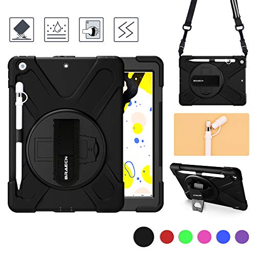 BRAECN iPad 10.2 case 2019,iPad 7th Generation Case with Pencil Holder,Heavy Duty Rugged Shockproof Case w/Pencil Cap Holder/Hand Strap/Swivel Kickstand/Shoulder Strap/Expandable Storage Pouch-Black