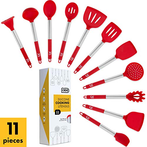 Klee 11-Piece Nonstick Silicone Cooking Utensil Set with Stainless Steel Handles (Red)
