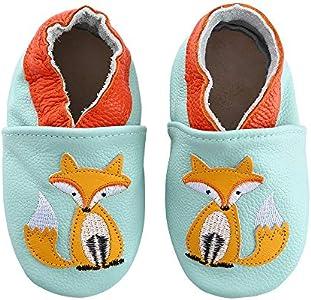 Lindos Cuero Suave Zapatos de Bebe Zapatillas Pantuflas Infantiles Patucos 0-3 Años (21 EU, Zorro)