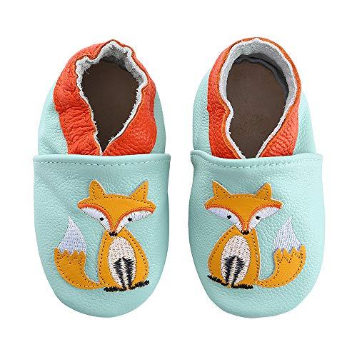 Lindos Cuero Suave Zapatos de Bebe Zapatillas Pantuflas Infantiles Patucos 0-3 Años (Zorro, 22)