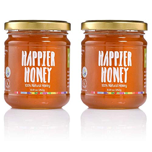 Sindyanna Pack of 2 Natural Honey Glass Jars - All Natural Honey Produced by Local Farmer and 100% Fair Trade - Perfect seasoning for Salads Desserts and Marinades 8.81 oz Each. Total of 17.62 Oz