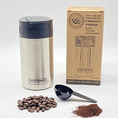 Defiance Tools Travel French Press Mug, Portable Coffee Maker, Double Insulated Coffee and Tea Press, Makes 2 Cups, Stainless Steel