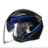 Tangzhi Outdoor-Sport-Schutz-Motorrad-Helm, Doppel-Spiegel-Helm, für Männer und Frauen, Persönlichkeit, Halbhelm, Vier Jahreszeiten, Unisex, abnehmbare Reinigung, ABS, a, M
