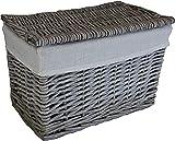 Cestas pequeñas de mimbre 100% enteras. Forro lavable extraíble. Solución de almacenamiento elegante. Para artículos de tocador, juguetes, zapatos y ordenaciones. En baños y dormitorios (gris).