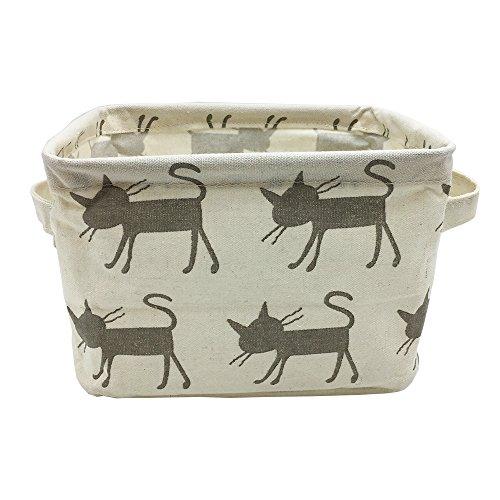Small Foldable Canvas Storage Basket with Handles, Cotton Linen Storage Bin Organizer for Nursery Kids Shelves & Desks (Grey Cat)
