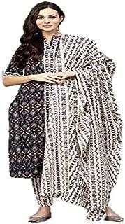 Adaa Women's Cotton Salwar Suit (AD001_Black)