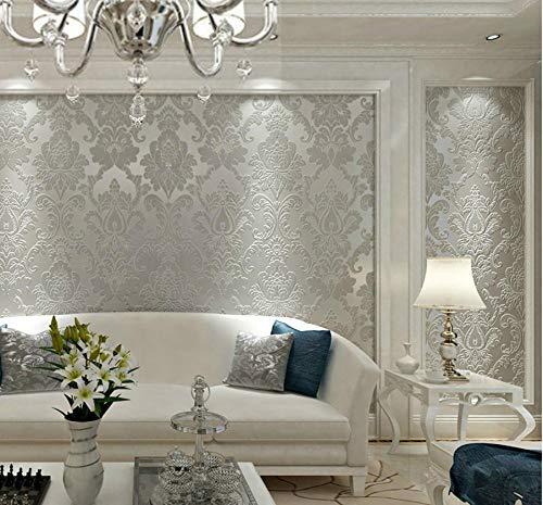 Palacio europeo Hermosa flor Damasco blanco Papel pintado de grano de plata 3D Rollo de papel de pared en relieve Lujo Texturizado No tejido para dormitorio Sala de estar