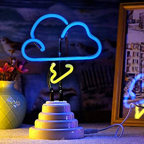 ZHQIC Nube Blanca de luzLED enForma de lámpara de Mesa con batería Base para decoración de Vacaciones en la habitación de los niños