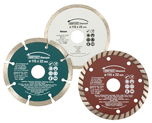 kwb KRAFTIXX Diamant-Trennscheiben Satz - Set für Winkelschleifer und Trennschleifer, 1 x 110 x 22 mm bzw. 2 x 115 x 22 mm, 3-teilig