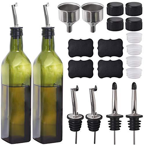 Newk Botella de aceite de oliva, 17 oz/500 ml vasos de aceite y vinagre cruet con vertedores + embudo, taza dispensadora de aceite de oliva, decantador, jarra para cocina - verde, juego de 2