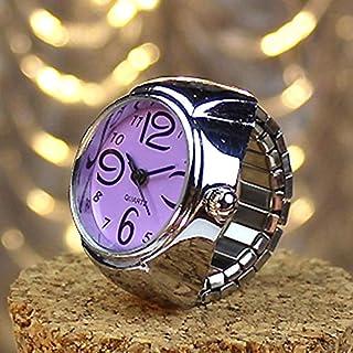 HUFAN 2PCS L04 Dial Quartz Analog Watch Creative Steel Cool Elastic Quartz Finger Ring Watch for Men/Women(Black) (Color : Purple)