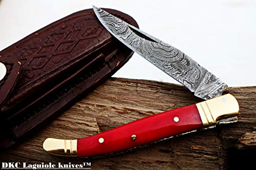"DKC Knives Sale DKC-62-RD RED Prince Laguiole Style Damascus Steel Folding Pocket Knife 4"" Folded 7.25"" Open 3oz 3.25"" Blade 4"" Closed"