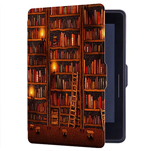 Huasiru Painting Case for Amazon Kindle Voyage Cover with Auto Sleep/Wake, Library