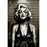 Monroe by Marcus Jones Sexy Marilyn Jail Mugshot Tattoo Canvas Wall Art Print
