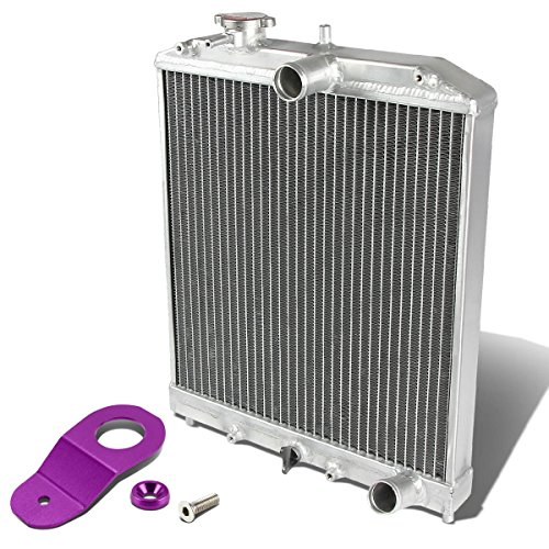 Full Aluminum 2-Row 42mm Radiator Bundle with Purple Stay Mount Bracket Compatible with Civic 92-00 | Del Sol 93-97 | Integra 94-01, Manual Transmission Models Only, EK