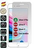 Movilrey Protector para Apple iPhone 8 Plus Cristal Templado de Pantalla Vidrio 9H para movil