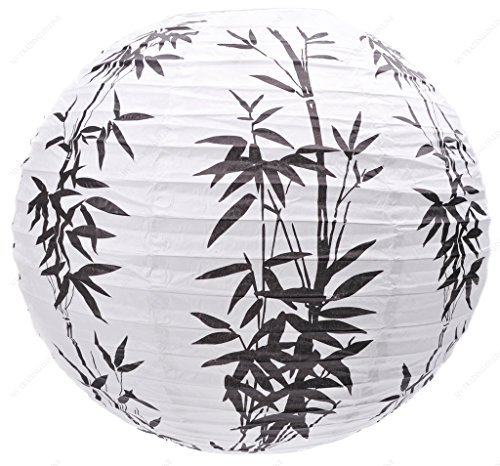 M.V. Trading MVA16013 Colorful Chinese/Japanese Round Paper Lanterns with Metal Frame, 16-Inch, White with Black Bamboo Garden