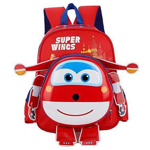 Super Wings Zaini Casual Grande capacità Daypack stampato casuale dello zaino impermeabile for ragazzi e ragazze unisex (Color : Red01, Size : 31 X 23 X 12cm)