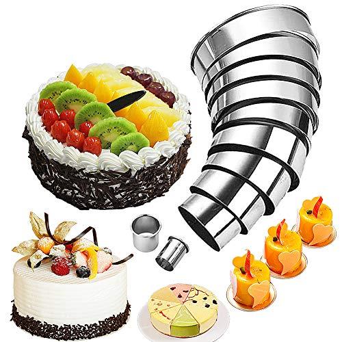 FANDE Cortapastas Redondo, Cortadores Galletas Cortadores de pastelería circulares de calidad, Anillo de acero inoxidable para moldes de galletas para mousse, 14 Piezas