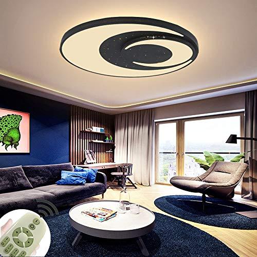 Lámpara de Techo LED para Habitación Infantil de Diseño Redondo 60W Luz de Techo Regulable Dormitorio Salón Negro [Clase de eficiencia energética A+]