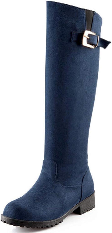 Elsa Wilcox Women Comfy Winter Vegan Suede Wide-Calf Low Block Heel Military Boots Knee High Riding Boots