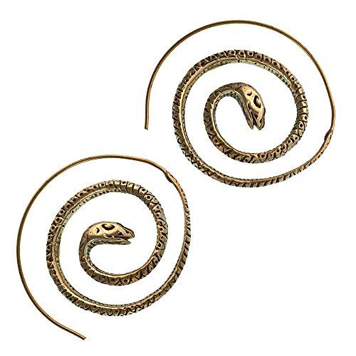 Spiralen Ohrringe Schlange gemustert rund Messing antik golden Piercing Tribal Schmuck