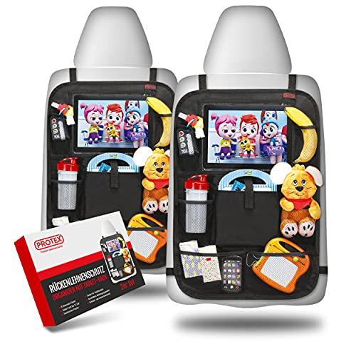 PROTEX | Premium [2er Set] Rückenlehnenschutz Auto–Auto Rücksitz Organizer [Oxford 600D] –wasserabweisender Rücksitzschoner mit 12 Zoll Tablet & iPad Fach