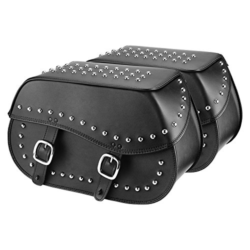 Nomad USA Extra-Large Universal Reinforced Armor Synthetic Black Leather Throw Over Motorcycle Saddlebags (Studded)