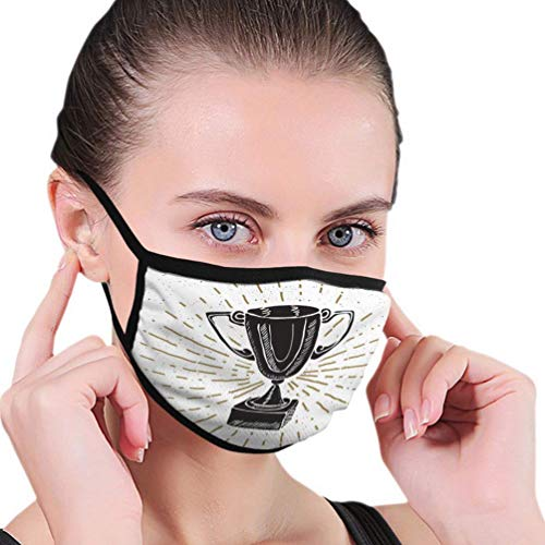 Máscara bucal Máscara Facial Etiqueta Vintage Dibujado a Mano Deporte Trofeo Ganadores Premio