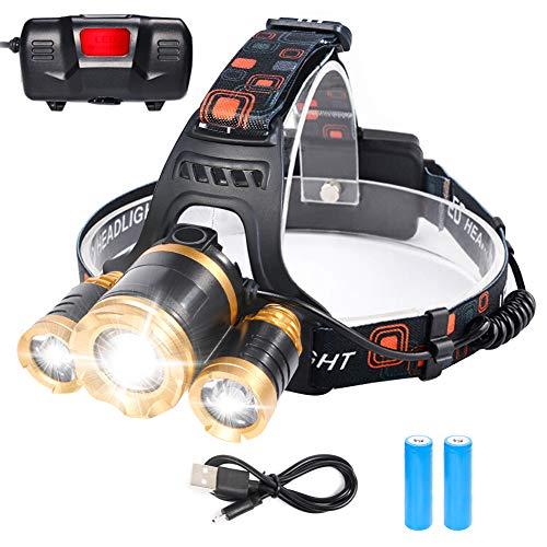flintronic LED Linterna Frontal, 4 Modos Recargable Linternas Frontales, Linternas LED alta Potencia 6000K 1200Lúmenes Impermeable para Camping, Excursión, Pesca, Carrera, Ciclismo