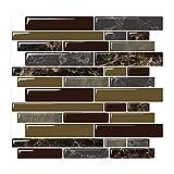 Yipscazo Peel and Stick Backsplash Tile for Kitchen, Kitchen Backsplash Peel and Stick in Dark Brown (10 Sheets 10'x10')