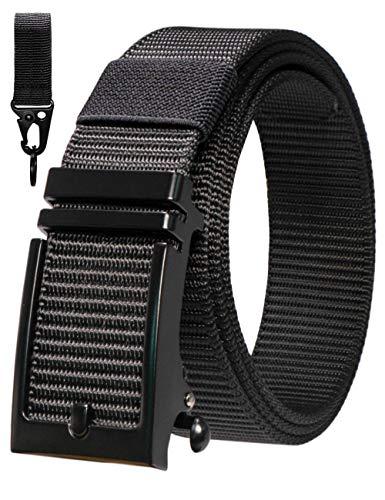 RBOCOTT Cinturón de Trinquete Automático para Hombre Cinturón de Lona de Nylon Negro con Hebilla Deslizante y Gancho y Bucle (Negro125)