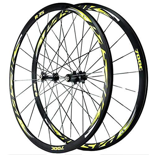 700C Rennrad Radsatz Laufradsatz Doppelwandige Alufelge 30mm Felgenbremse XC QR C/V-Bremse Abgedichtete Lagernaben 7-12 Geschwindigkeit (Color : Green)