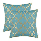 CaliTime Pack of 2 Throw Pillow Covers Cases for Couch Sofa Home Decoration Modern Quatrefoil Geometric Trellis Chain 18 X 18 Inches Teal/Gold