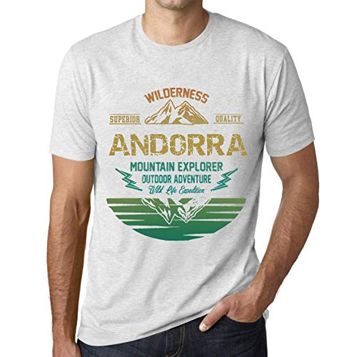 One in the City Hombre Camiseta Vintage T-Shirt Gráfico Andorra Mountain Explorer Blanco Moteado