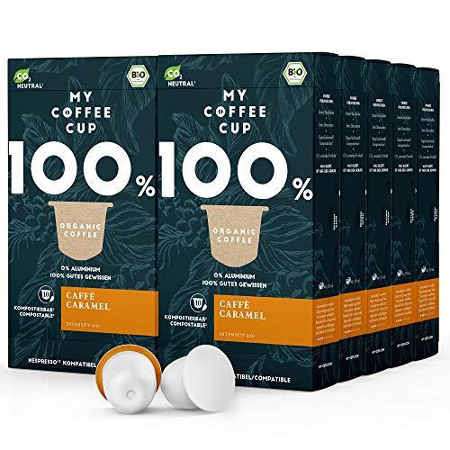 My Coffee Cup – CAFFÈ CARAMEL – BIO-KAFFEE 10 PACKUNGEN I 100 Kaffeekapseln für Nespresso®³-Kapselmaschinen I 100% industriell kompostierbare Kaffeekapseln – 0% Alu I Nachhaltige Kaffeekapseln