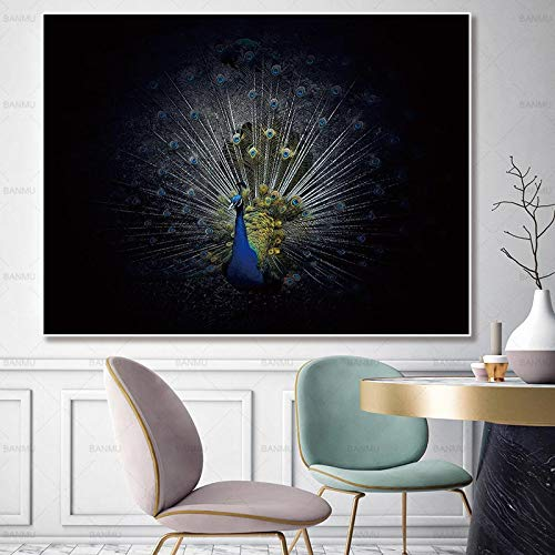 Canvas wall art picture peacock decoration poster art animal print on canvas for living room wall decoration frameless painting 40X50cm