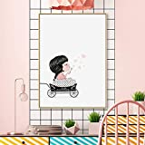 ganlanshu Pintura sin Marco Bicicleta de Dibujos Animados Oso y Burbuja niña Lienzo Pintura para habitación Infantil decoración familiarZGQ3400 30X45cm