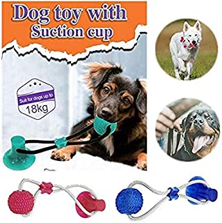 Pet Elasticity Ball,Dog Chew Toy Teeth Cleaning Tool,Dog Cat Self-Playing Rubber Ball Toy with Suction Cup,Indestructible Dog Ropes Training Toy,Puppy Molar Toy,Dog IQ treat Balls (Red)
