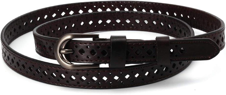 Ladies Belt Ladies Leather Retro Hollow Versatile Thin Belt Decoration (Size   115cm)