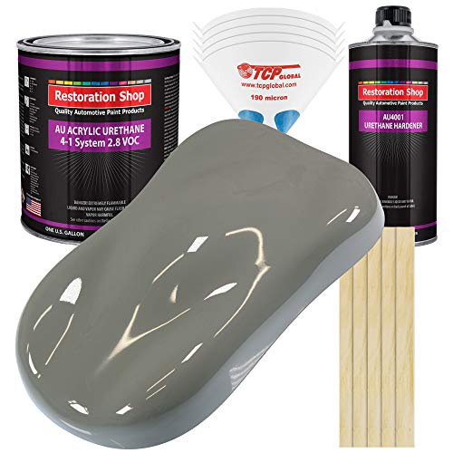 Restoration Shop - Dove Gray Acrylic Urethane Auto Paint - Complete Gallon Paint Kit - Professional Single Stage High Gloss Automotive, Car, Truck Coating, 4:1 Mix Ratio, 2.8 VOC